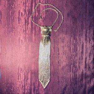 Jewelry - Vintage Metal Necktie Slide w/ Rhinestones Choker